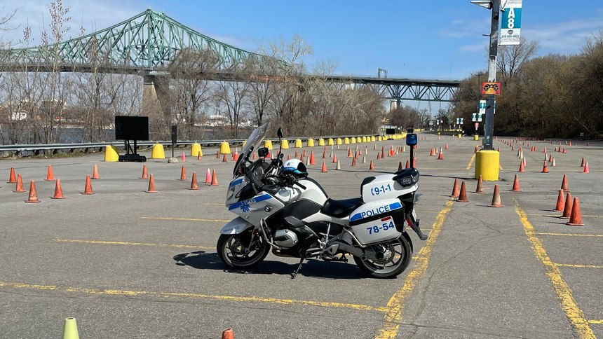 Gagnon participates in motorcycle trainingnear the Jacques Cartier bridge in Montreal.