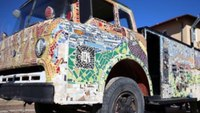Vandals damage mosaic vintage fire truck dedicated to Texas firefighters