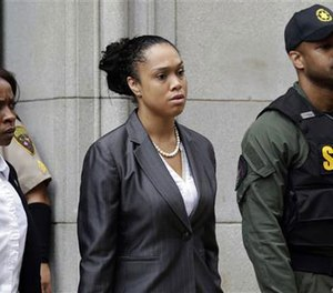 Baltimore state's attorney Marilyn Mosby leaves a courthouse after Officer Caesar Goodson, one of six Baltimore city officers charged in connection to the death of Freddie Gray, was acquitted of all charges in his trial in Baltimore, Thursday, June 23, 2016.