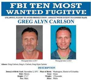 This undated file photos released on Thursday, Sept. 27, 2018 by the FBI shows an FBI wanted poster of Greg Alyn Carlson. The FBI tracked Carlson, a man they think was one of the country's 10 most-wanted fugitives, to a North Carolina motel, where agents shot and killed him on Wednesday, Feb. 13, 2019.