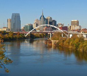 This image shows the skyline in Nashville, Tennessee.