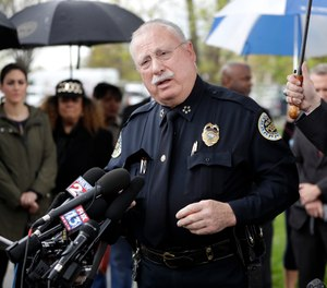 In this April 23, 2018 file photo, Metropolitan Nashville Police Chief Steve Anderson speaks at a news conference in Nashville, Tenn. (AP Photo/Mark Humphrey, File)