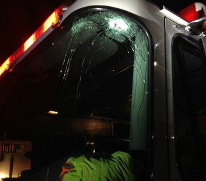 While returning to the station, a fire engine was struck by a bullet, as reported in Near Miss report 6425.