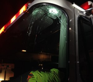While returning to the station, a fire engine was struck by a bullet, as reported in Near Miss report 6425. (Photo/Near Miss)