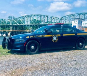 A New York State Police cruiser along the Erie Canal in Rotterdam Junction, New York. (Photo/New York State Police)