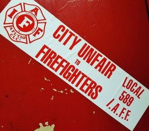 The City of Newburgh firefighters' union is protesting the layoffs of 14 firefighters, which the union said was based on an unfair layoff structure. (Photo/City of Newburgh Firefighters IAFF Local 589 Facebook)