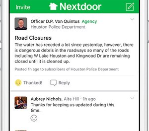 In the greater Houston area, more than 120 public agencies use Nextdoor to connect with residents, and all agencies relied on the platform during Hurricane Harvey.