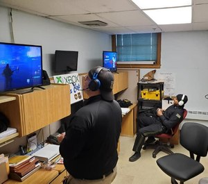 Bordentown Township Police officers play Xbox online with township youth on March 27. (Photo/BTPD)
