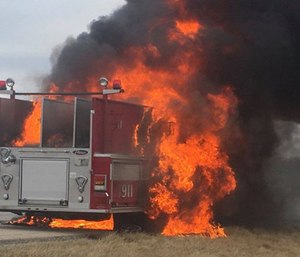 A Normal Fire Department truck was burned up in a highway blaze Wednesday morning. (Photo/Ill. State Police)