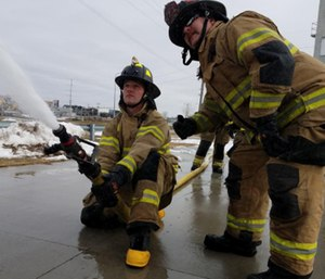 Nozzle reactions can limit a firefighter's water application rate and increase his or her air consumption rate. (Photo/City of Fargo, ND)