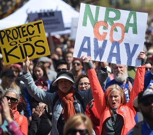 In this March 24, 2018, file photo, crowds of people participate in the March for Our Lives rally in support of gun control in San Francisco. (AP Photo/Josh Edelson, File)