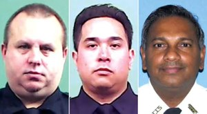 14-year veteran Det. Jeffrey Scalf (left), 19-year veteran Det. Raymond Abear and 30-year veteran Auxiliary Capt. Mohamed Rahaman died within hours of each other, the NYPD reported. (Photo/NYPD)