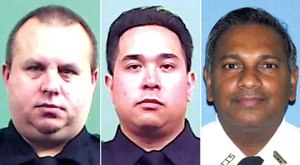 14-year veteran Det. Jeffrey Scalf (left), 19-year veteran Det. Raymond Abear and 30-year veteran Auxiliary Capt. Mohamed Rahaman died within hours of each other, the NYPD reported.