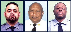 School Safety Agent Luis Albino, left, Auxiliary Police Lieutenant Pierre Moise and School Safety Agent Linosee Mosley died this weekend of coronavirus complications.