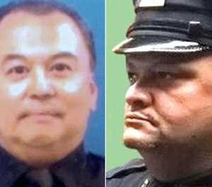 Auxiliary Sgt. Angel Leon, left, and Auxiliary Officer Ramon Roman died this weekend of coronavirus complications, according to the department.