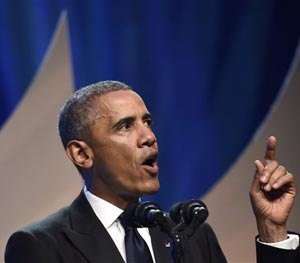 President Barack Obama speaks at the Congressional Black Caucus Foundation's 44th Annual Legislative Conference Phoenix Awards Dinner in Washington, Saturday, Sept. 27, 2014. (AP Image)