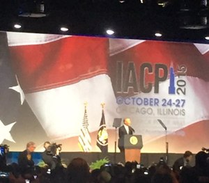 President Barack Obama addresses the crowd at IACP 2015.