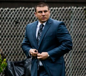 New York City police officer Daniel Pantaleo leaves his house Monday, May 13, 2019, in Staten Island, N.Y.  (AP Photo/Eduardo Munoz Alvarez)