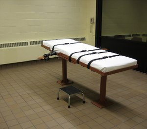 This November 30, 2009 photo shows the witness room facing the execution chamber of the