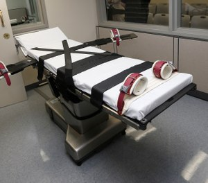 This Oct. 9, 2014, file photo shows the gurney in the the execution chamber at the Oklahoma State Penitentiary in McAlester, Okla. (Photo/AP)