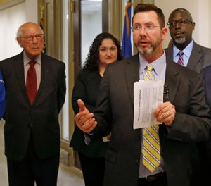 Former Republican House Speaker Kris Steele speaks to the group who launched an initiative petition that could lead to the release of hundreds more inmates. (Photo/AP)