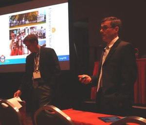 John Oprandy (right) and Doug Walker (left) discuss how chiefs can effectively handle budgets and funding at the FRI Conference.