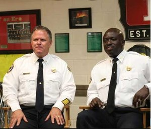 Chiefs Bryan Davis and Roderick Williams discuss the night of the shooting. (Photo courtesy the Orlando Sentinel)