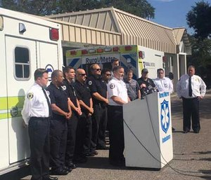 Rural-Metro personnel speak to the press about the Orlando shooting.