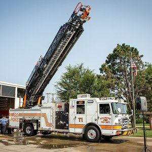 A new ladder truck for Stillwater Fire Department with Oklahoma State University branding.