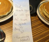 Responders thank woman for paying breakfast bill