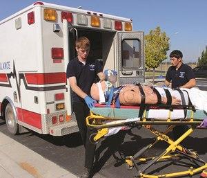 FVCC students practice skills in the college's paramedicine program.