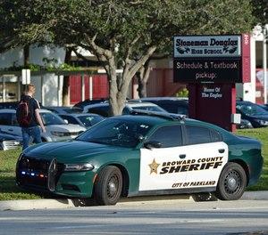 Marjory Stoneman Douglas High School where gunman Nikolas Cruz is accused of killing 17 people and wounding 17 others in last year's massacre