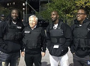 LeGarrett Blount, Robert Kraft, Devin McCourty, and Matthew Slater went on a ride-along with BPD officers last week. (Photo/Boston Police Department)