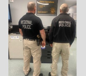 Officers of the Northern Lancaster County Regional Police model the temporary uniform officers will be wearing during the coronavirus pandemic.