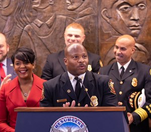 Atlanta Mayor Keisha Bottoms (left) announced yesterday that the city's firefighters would receive a pay raise averaging 20%. Fire Chief Randall B. Slaughter (center) said it is the biggest pay raise for Atlanta firefighters he has seen in his career. (Photo/City of Atlanta, GA Twitter)