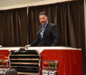 State Sen. Mike Regan speaks at the Pennsylvania Fire & Emergency Services Institute's Annual Banquet in November 2019. Regan is the sponsor of Senate Bill 908, which would expand a funding program for state fire and EMS departments. (Photo/Senator Mike Regan Twitter)
