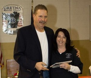 Lt. Pernice White (right) is shown accepting the Captain's Choice Award in 2013. (Photo/Gretna Rescue Squad)