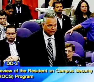 In this Feb. 18, 2015, file frame from video from Broward County Public Schools, school resource officer Scot Peterson talks during a school board meeting of Broward County, Fla. (Broward County Public Schools via AP, File)