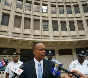 Former Philadelphia Police Commissioner Richard Ross speaks with the media outside Police Administration Building at 8th and Race in Philadelphia, Wednesday, Aug. 21, 2019. (Jessica Griffin/The Philadelphia Inquirer via AP)