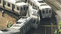 4 hurt in out-of-service commuter train crash near Philly