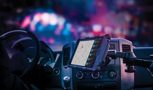 LaunchPort Rugged System by iPort secures and protects an iPad in a police vehicle (photo/iPort)