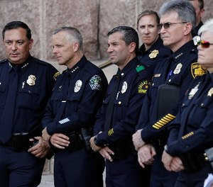 Houston Police Chief Art Acevedo, from left, Austin Police Chief Brian Manley, Dallas Police Major Rueben Ramirez and San Antonio Police Chief William McManus take part in public safety event where they spoke against a proposed