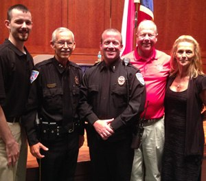 Pictured left to right are Officer Mark Pope, Chief of Police James Lawhorn, Lt. Michael Irving, West Mayor Tommy Muska, and West Council Woman Cheryl Marak. (Photo courtesy Michael Irving)