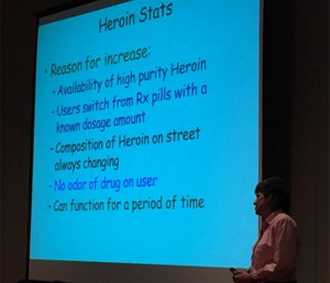 Educator Lynn Riemer describes trends in opioid abuse at Wis. EMS Association conference. (Photo/Greg Friese)