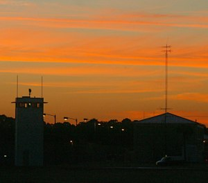 Florida State Prison at sunset in Raiford, Fla. Tuesday, Oct. 23, 2012. (AP Photo/Phil Sears)