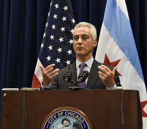Chicago Mayor Rahm Emanuel speaks during a press conference where sanctuary cities, which don't arrest or detain immigrants living in the U.S. illegally, and Chicago violence, two issues raised by President Donald Trump, were discussed on Wednesday, Jan. 25, 2017, in Chicago. (AP Photo/Matt Marton)