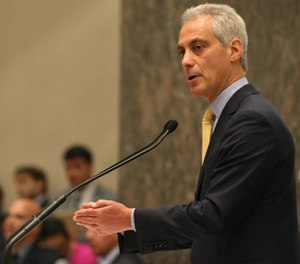 Mayor Rahm Emanuel presides over the Chicago City Council meeting on Oct. 5 in Chicago.