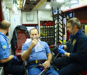 When administering spray nitroglycerin, beware not to accidentally inhale the medication. (Photo/Rommie Duckworth)
