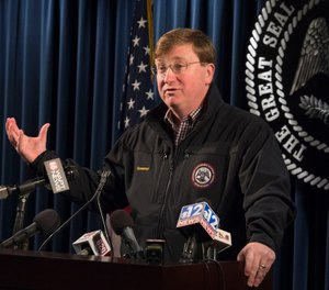 Mississippi Gov. Tate Reeves toured the the Mississippi State Penitentiary at Parchman in an effort to understand what led to an outburst of deadly violence in recent weeks. (Photo/AP)