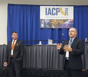 Lieutenant Christopher Clayton (left) and Chief Brandon Zuidema of the Garner (N.C.) Police Department delivered a compelling presentation on how smaller agencies can apply the principles of the President's Task Force on 21st Century Policing Report at IACP 2016. (PoliceOne Image)